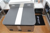Everyman Boats New Release 750 Diesel Game Fisher in board motor with cover on