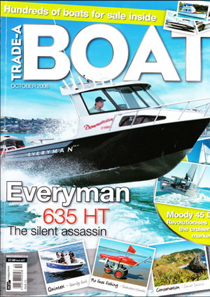 Everyman 635 Hard Top on the cover of Trade-A-Boat magazine, October 2008